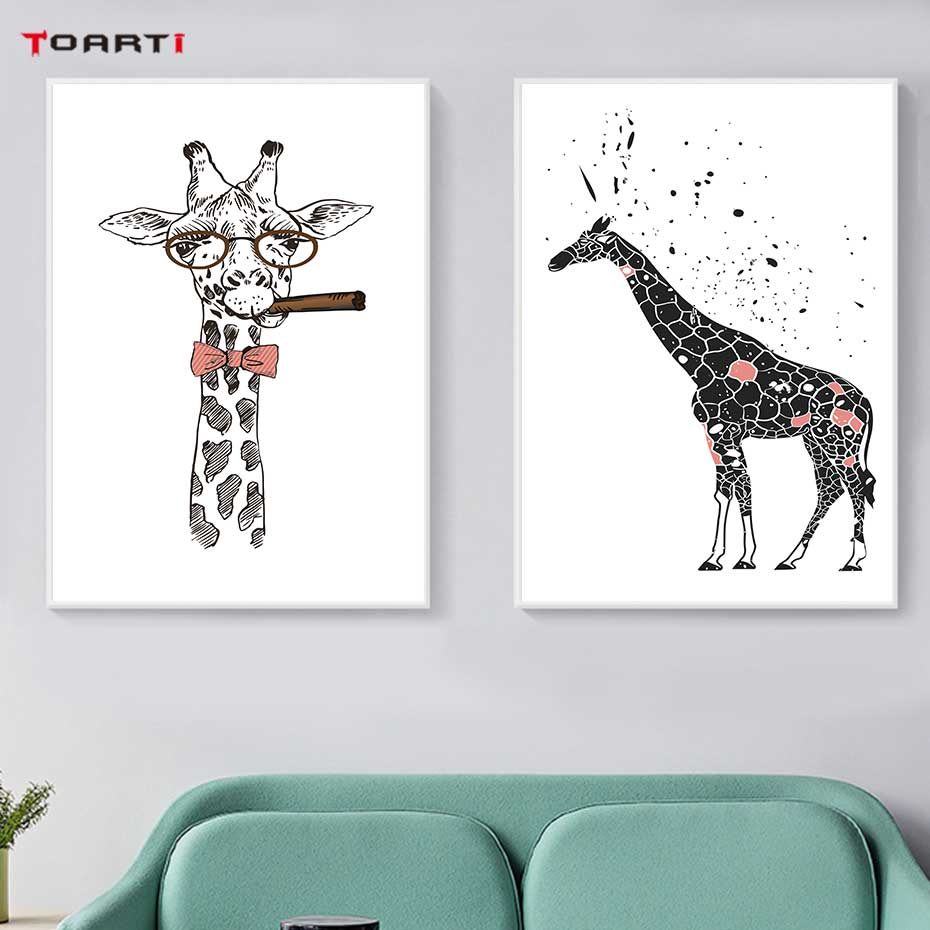 Image 4 - Cool Giraffe With Cigar Prints Posters Cartoon Animals Canvas Painting On The Wall For Kids Living Room Home Decor Art Pictures-in Painting & Calligraphy from Home & Garden