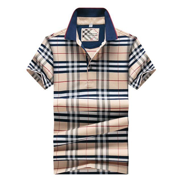 New 2016 Summer Style  Plaid Classic business men polo shirt  Loose New Brand Men's Polo Shirt For Men Cotton Short Sleeve