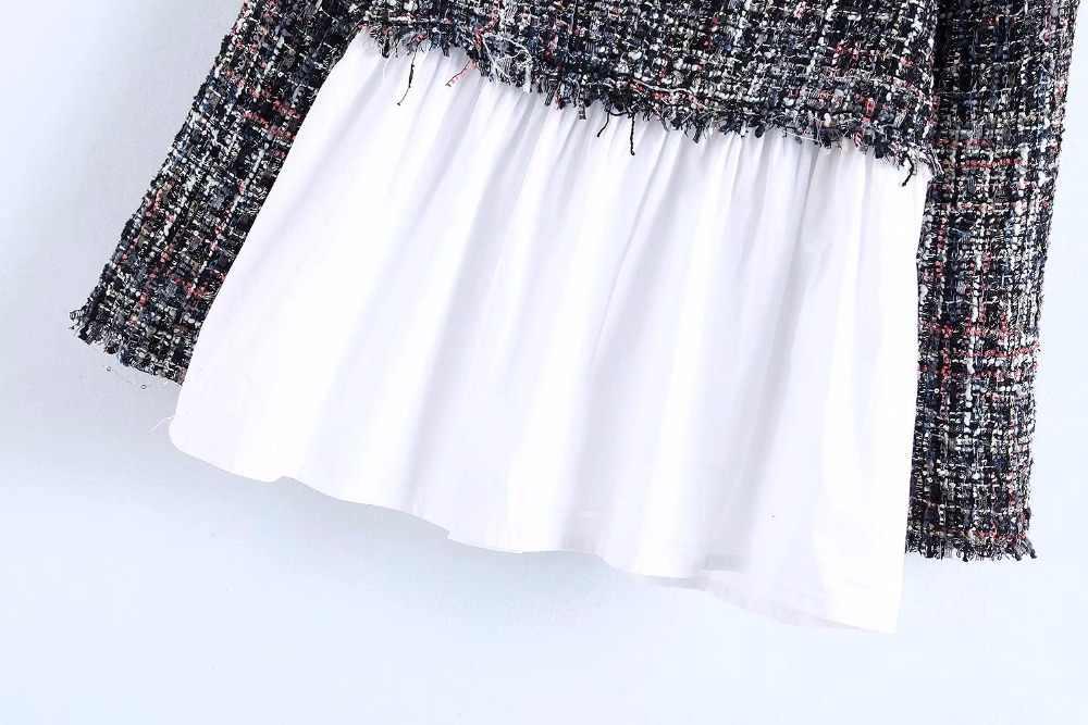 2019 秋の新気質女性ブラウス小香風にスプライシングツイード長袖スリムブラウス 2 色セレブ風
