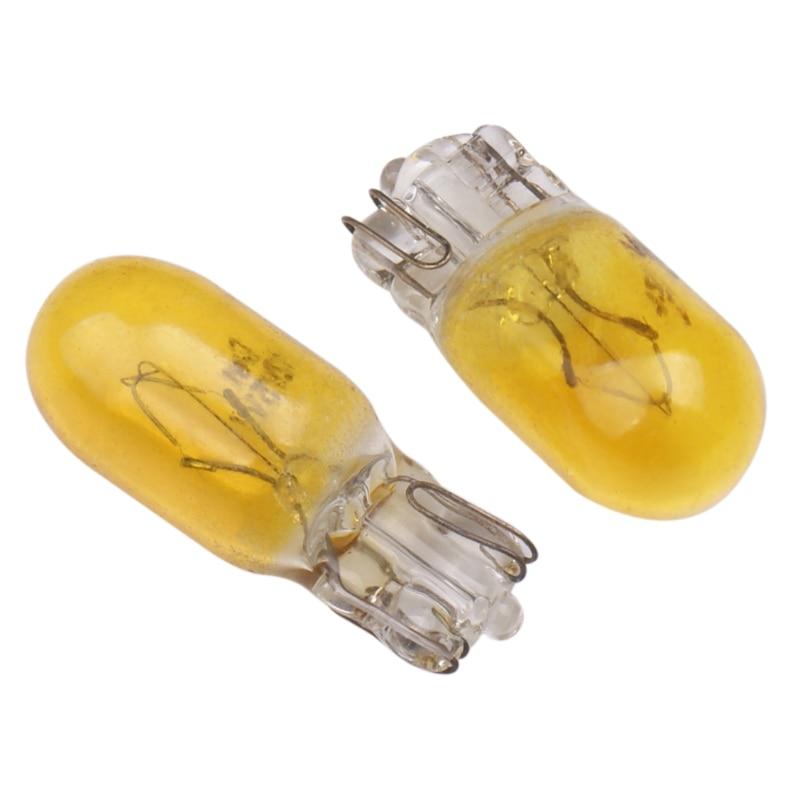 20pcs car t10 halogen w5w 194 158 wedges 12v 5w xexon lamp warm white yellow amber instrument light reading light clearance lamp