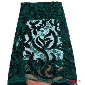 Image 2 - Gorąca sprzedaż projekt nigerii przewód koronki tkaniny wysokiej jakości sieć Mesh koronki Party Dress afrykańska aksamitna koronka tkaniny cekiny GD1710B 3