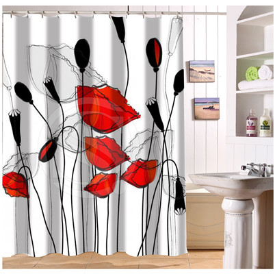 W522#45 Custom Quietly elegant of red flowers Modern Shower Curtain bathroom Waterproof Free Shipping #fj45