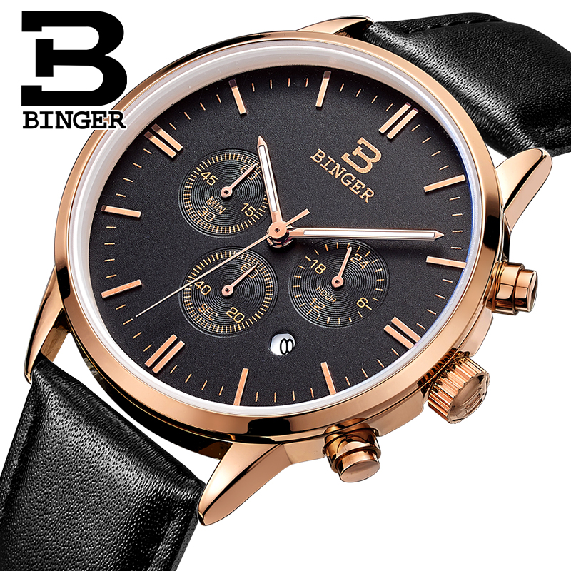 2017 Switzerland relogio masculino BINGER Chronograph Men Watches Sports waterproof Quartz Watch Luxury Brand Watch Men BG9201-3 switzerland relogio masculino luxury brand wristwatches binger quartz full stainless steel chronograph diver clock bg 0407 3