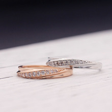 2018 Wedding Crystal Simple Cubic Zirconia Lovers Rose Gold Color Ring Silvery Allergy Free 1PC High Quality Golden