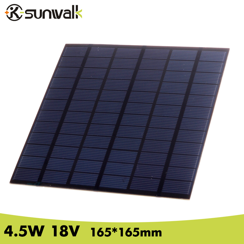 SUNWALK DIY Polycrystalline Solar Panel 250mAh 4.5W 18V Mini Solar Panel 18V PET Solar Panel for Solar System Test 165*165mm