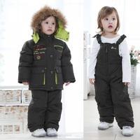 Мальчики Snowsuit мех вниз мехом Дети вниз шляпа енота куртка пальто для девочек Детская куртка + штаны