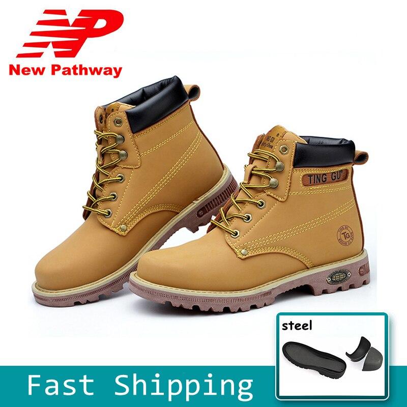 Bottes de sécurité d'hiver en acier orteil respirant travail chaussures de sécurité hommes jaunes bottes de protection chaussures de plein air grande taille 37-45 MS48