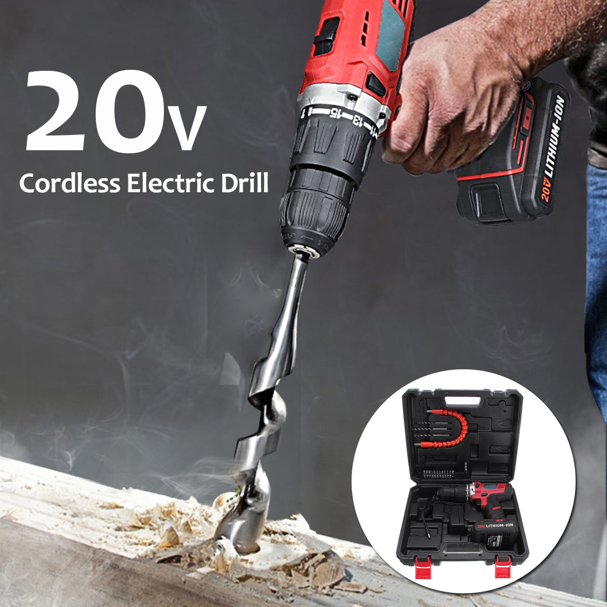 Portable 20V Electric Screwdriver Cordless Mini Electric Drill Drilling Lithium Ion Battery High Speed Power Tool