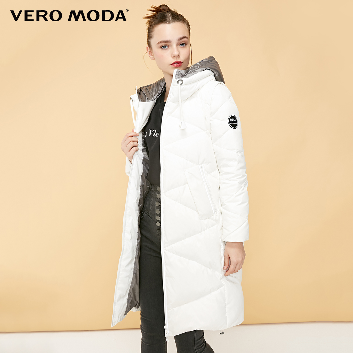 Vero Moda New Hooded Detachable Sleeve Drawstring Long Down Jacket | 318412525