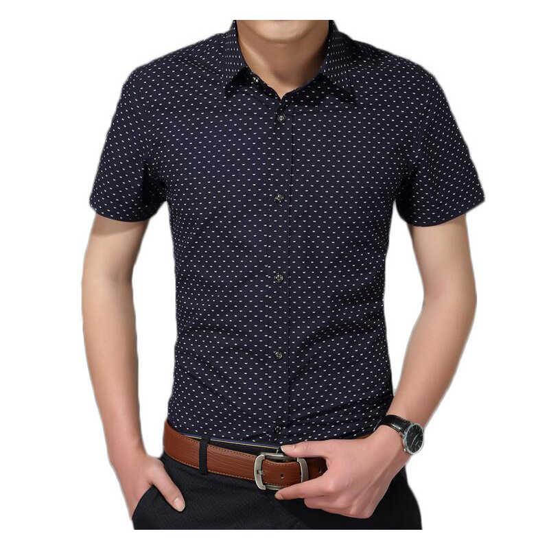 Мужская рубашка, новая модная Хлопковая мужская рубашка, мужская рубашка с коротким рукавом, мужская повседневная рубашка в горошек, большие размеры 5XL