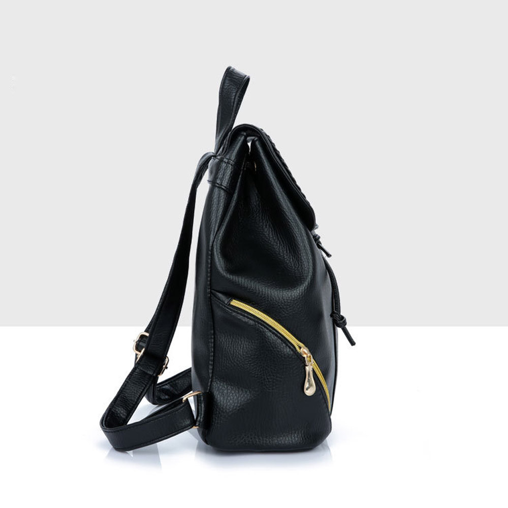 e3c692c11ebe Backpack Female School Bags Leather Backpack Women Schoolbag Zipper Travel  Bagpack Black Material Escolar -in Backpacks from Luggage   Bags on ...