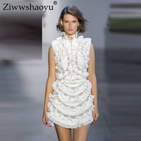 Ziwwshaoyu Sexy Solid Mini dresses 100% Linen Turtleneck Ruffles Beading Vacation Party dress 2019 summer runway new women