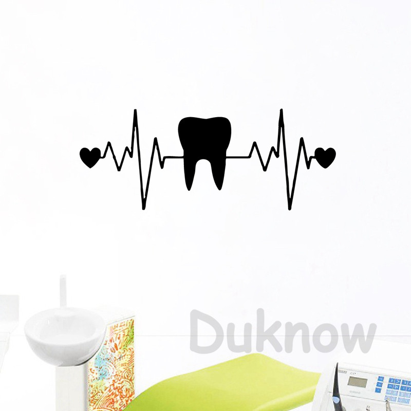 Teeth Dentist Dentistry Heart ECG Vinyl Wall Art Stickers Dental Clinic Decor Tooth Wall Decals Bathroom Decor(China)