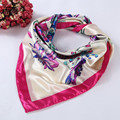 FEITONG 90*90cm Fashion Women Floral Printed Square Scarf Head Wrap Kerchief Neck Satin Shawl echarpe hiver femme#25