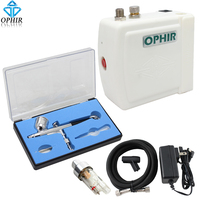 OPHIR Free Shipping 100V 240V White Airbrush Compressor Kit With Dual Action Airbrush For Tattoo Makeup
