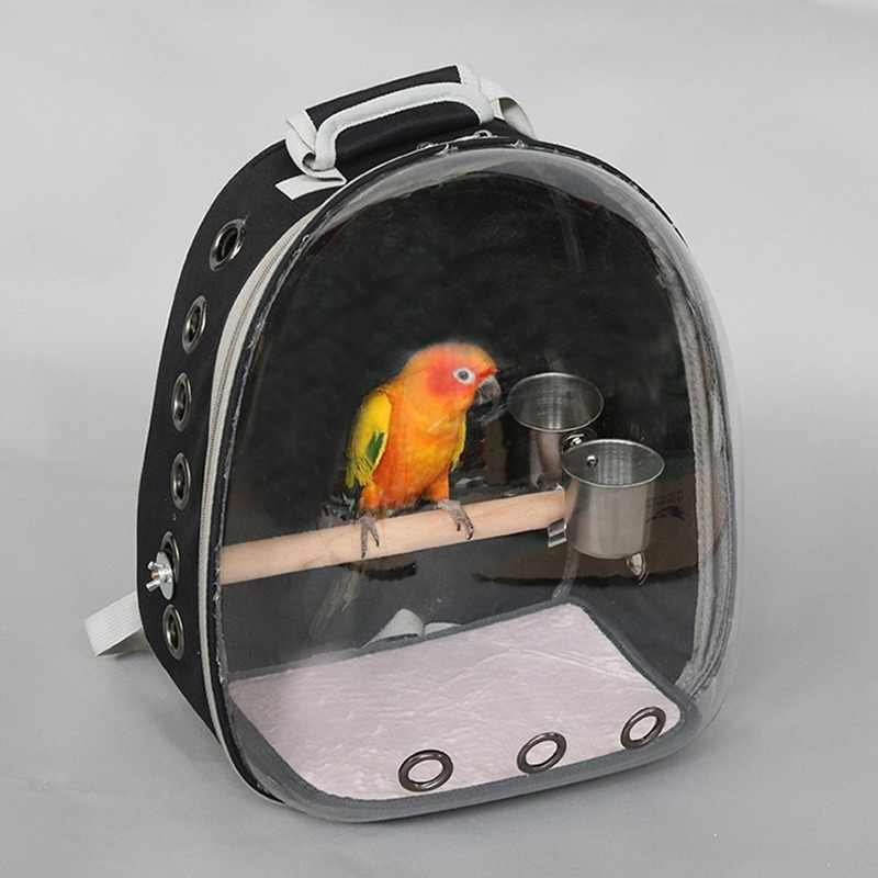 Outdoor Bird backpack With feeder Parrot Carriers Cage Parrot Bag With Wood Perch Pet Breathable Space Capsule Backpack CW201