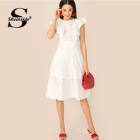 Sheinside White Eyelet Embroidered Ruffle Detail Dress Women 2019 Summer Casual Backless Dresses Ladies Sleeveless A Line Dress