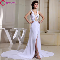 Elegant Long Evening Dresses Chapel Train Formal Gowns Wedding Celebrity White Carpet Party Dress