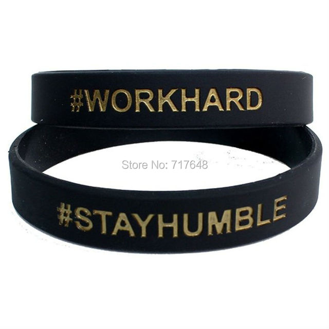 200pcs Black With Gold Work Hard Stay Humble Wristband Silicone Bracelets Free Shipping By Fedex