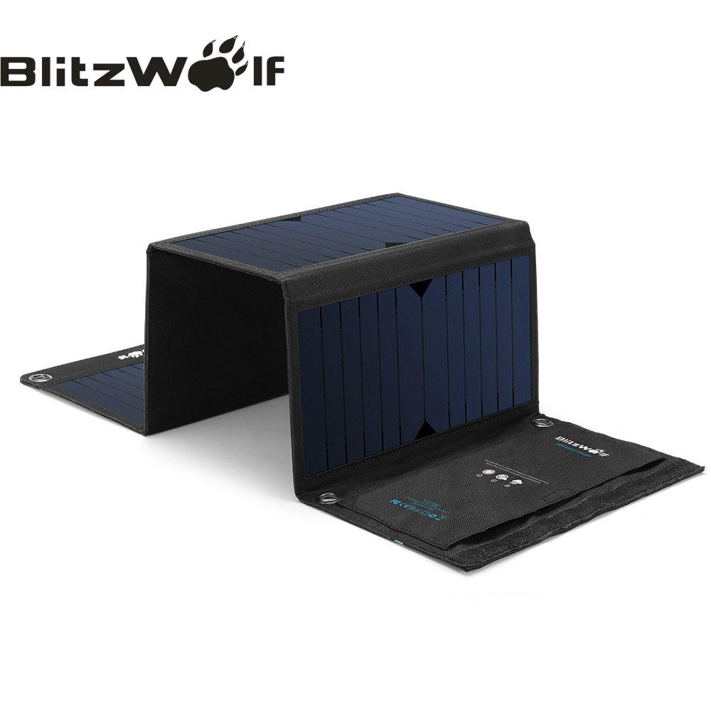 BlitzWolf 28 watt Solar Power Bank Solar Panel Tragbare Ladegerät Externe Batterie Universal Power Für iPhone Für Xiaomi Handys
