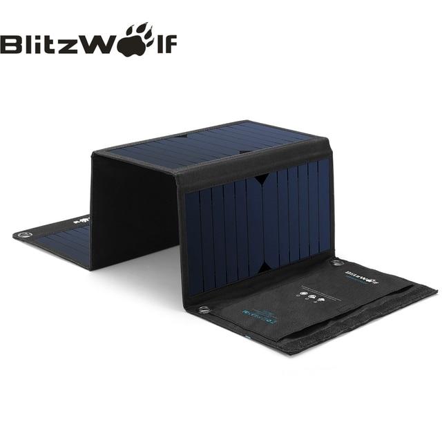 BlitzWolf 28 Вт солнечный power Bank солнечная панель портативное зарядное устройство Внешний аккумулятор Универсальный power bank для iPhone для телефонов Xiaomi