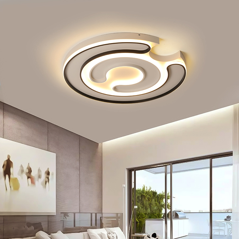 New Round Modern LED Ceiling Light for Living Room Dining Kitchen Bedroom Black and White Aluminum Ceiling Lights Free Shipping modern bedroom sitting room led ceiling lights act role ofing circular geometric kitchen toilet absorb dome light free shipping