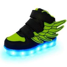 2017 Children Shoes With Light Мальчики И Девочки Повседневная LED Shoes For Kids Кроссовки Usb Зарядки Световой Мигающий Крылья shoes