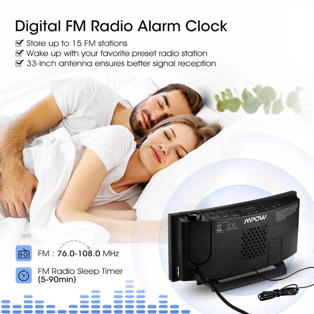 Mpow HM353 FM Radio Projection Alarm Clock With Dual Alarms Snooze Function  With USB Charging Port 5 Large Display Sleep Timer