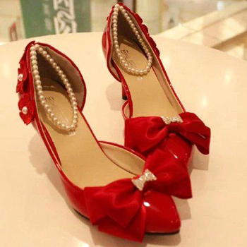 Fashion Lovely Bowtie Party Prom Shoes Sweetness White and Red Imitation Pearl Woman Wedding Bridal Shoes Lady's Free Shipping