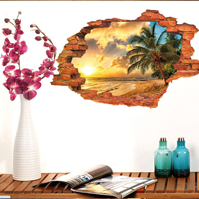 10x Scenery Wallpaper 3D Wall Beach Coconut Tree Poster Removable Seascape Wall Sticker for Christmas Room Home Decor