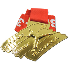 Factory custom 3d gold medals cheap metal sports price grand prix slovakia and red ribbons