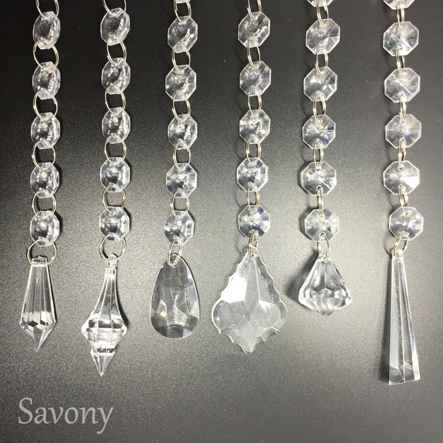 12sets Clear Crystal Octagon Beads Garland Chandelier Hanging Chains  Windows Porch Partition Door Curtain Crystal Bead