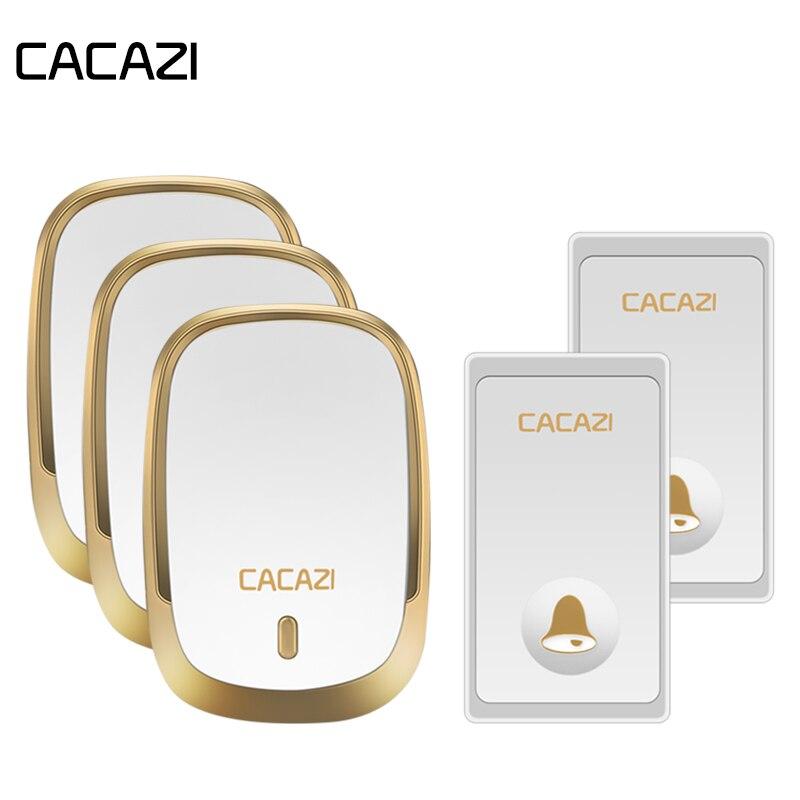 CACAZI Auto-Alimenté Étanche Sonnette Sans Fil Sans Pile Bouton LED Lumière Maison Sans Fil Cloche NOUS Prise UE Récepteur 36 anneaux