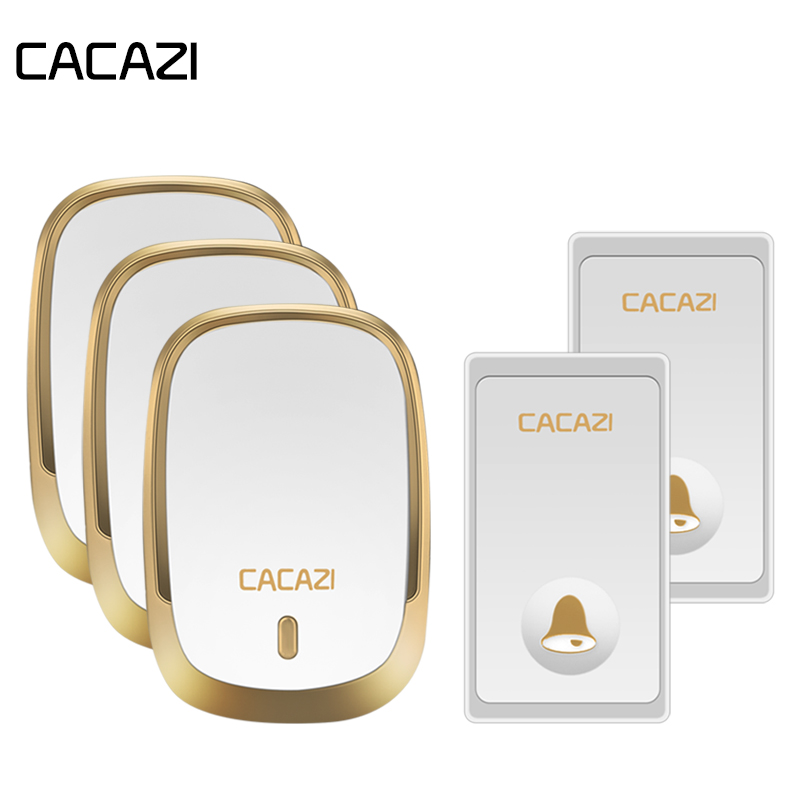 CACAZI Self-Powered Waterproof Wireless Doorbell No Battery Button LED Light Home Cordless Bell US EU Plug Receiver 36 RingsCACAZI Self-Powered Waterproof Wireless Doorbell No Battery Button LED Light Home Cordless Bell US EU Plug Receiver 36 Rings