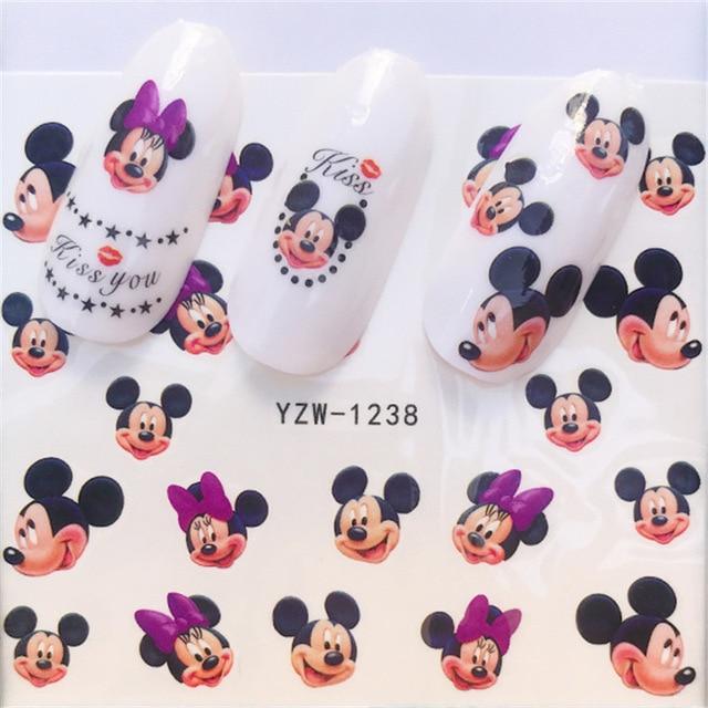 Aufkleber für Nägel Wasser Decals Mickey Maus Nagel Aufkleber Slider Kunst designs Dekorationen Maniküre Folie Klebstoff Wraps Pegatinas