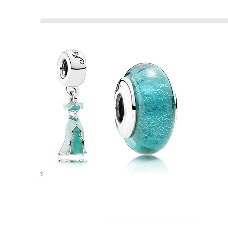 Disny Jasmine\'s Dress Beads For Jewelry Making Fits Pandora Charms Bracelet Murano Glass Beads 925 Sterling Silver Beads Jewelry