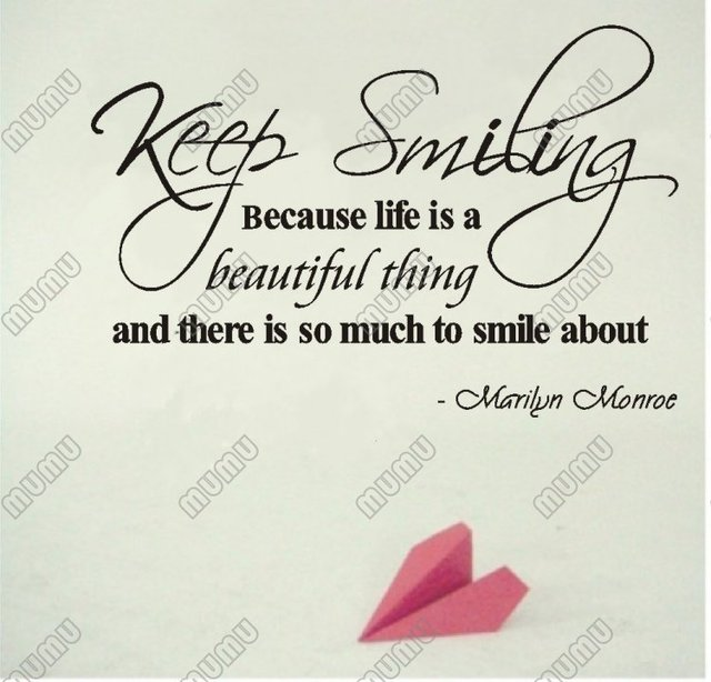 Marilyn Monroe Quote Keep Smiling Because Life Is Beautiful Vinyl