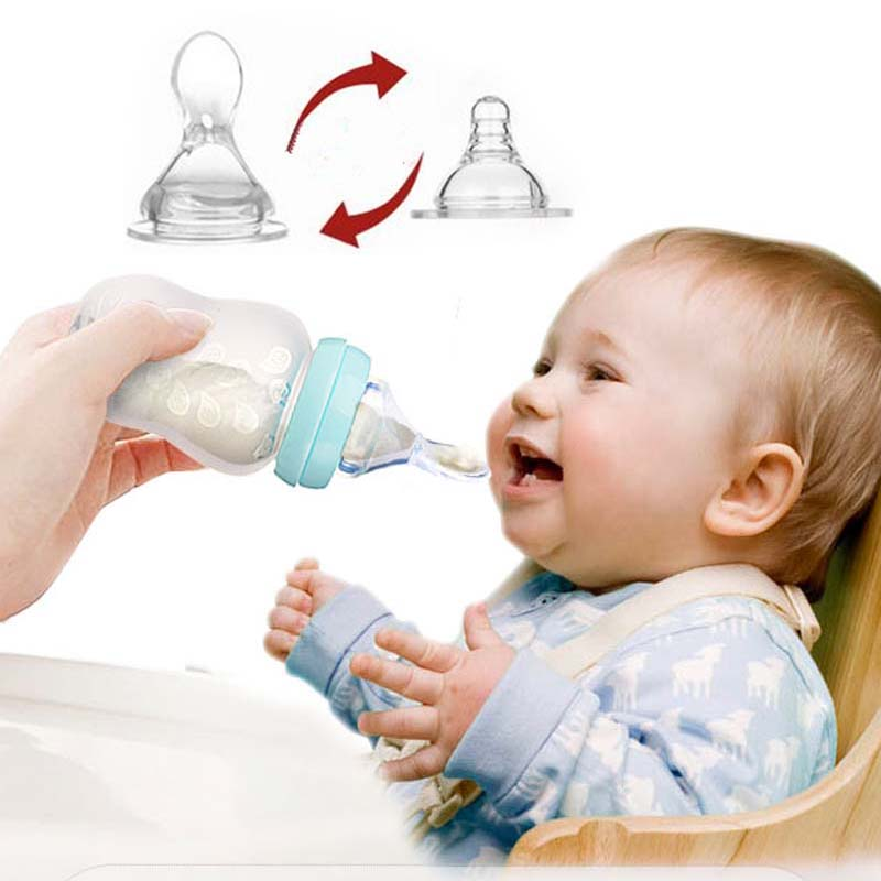 1pc 180ml Soft Silicone Spoon Baby Rice Cereal Eat Bottle