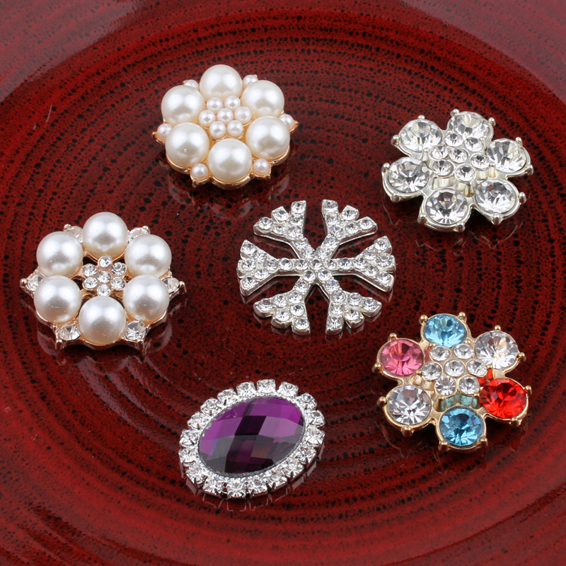 120PCS Vintage Snow round oval Metal Rhinestone Buttons Bling Flatback Flower Centre Crystal Buttons for Hair