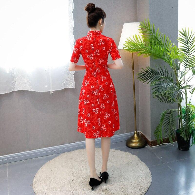 Été Cheongsam Femmes Mince Courtes Traditionnel Partie gris À 2018 rose Robe Qipao Style Manches Dentelle red Noir Genou Longueur Chinois gtnxt0dvZ