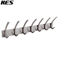KES Coat Hook Rack/Rail with 7 Pronged Hooks Wall Mount Solid Metal, Brushed Nickel, A3062H7 2
