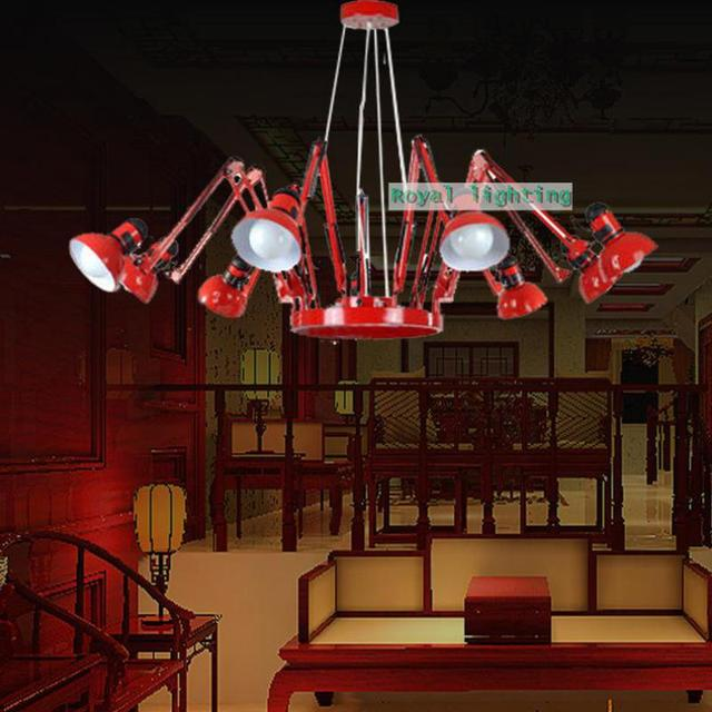 Swing arm novelty spider lighting chandelier office adjustable red swing arm novelty spider lighting chandelier office adjustable red black chandelier 6 arm luminaria commercial aloadofball Image collections
