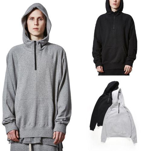 Mens Winter Hoodies Slim Fit Hooded Sweatshirt Outwear Men Hip Hop Streetwear Warm Pullover