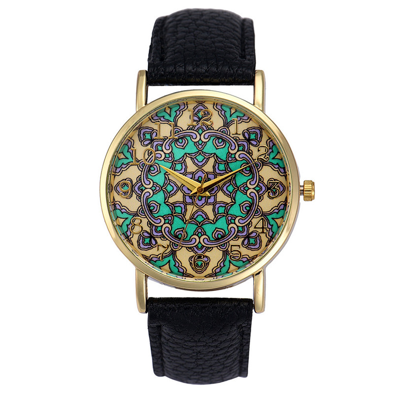 Clock Women Hot Ethnic Style Women Faux Leather Analog Saat Quartz Hook Buckle Wrist Watch Relogio Feminino Female Watches rigardu fashion female wrist watch lovers gift leather band alloy case wristwatch women lady quartz watch relogio feminino 25