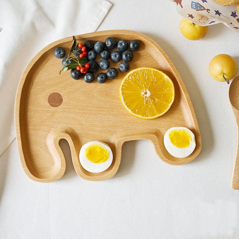ФОТО Rubber Wood Cartoon Elephant Plate Creative kids plate Tableware baby dishes plates dish wood kids dishe bamboo baby dishes