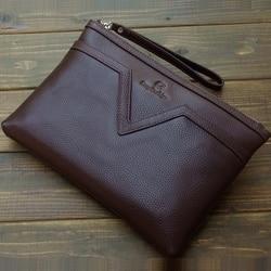 Top-grade 32*21 cm echtes leder tasche für dokumente für männer datei ordner padfolio padfolio dokument reißverschluss tasche mit griff 1230A