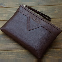 top-grade 32*21cm genuine leather bag for documents for men file folder padfolio padfolio document zipper bag with handle 1230A