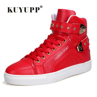 Fashion Stars Sequined Men Skate Shoes 2016 Fashion PU Leather Ankle Boots For Men High Top
