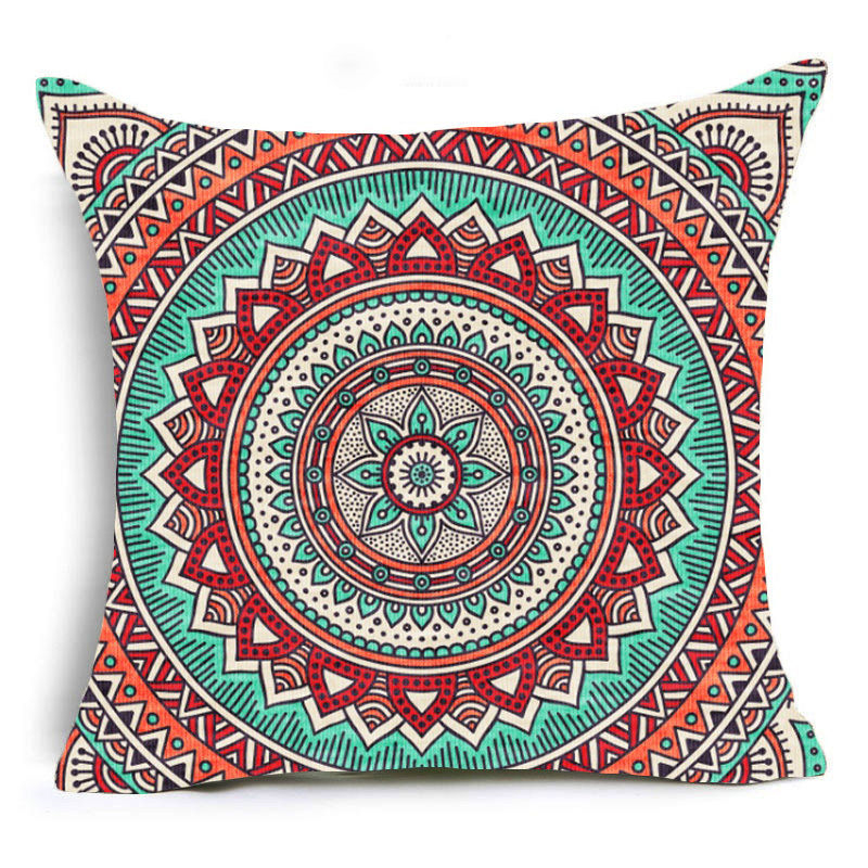 Red Mandala Print Sofa Cushion Covers