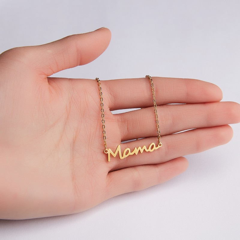 Купить с кэшбэком Letter Mama Stainless Steel Pendant Necklace For Women Clavicle Short Necklace Chain Mother's Day Series Women's Jewelry Gifts